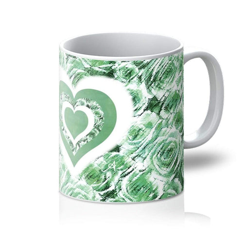 Homeware 11oz / White Textured Roses Love & Background Mint Amanya Design Mug Prodigi