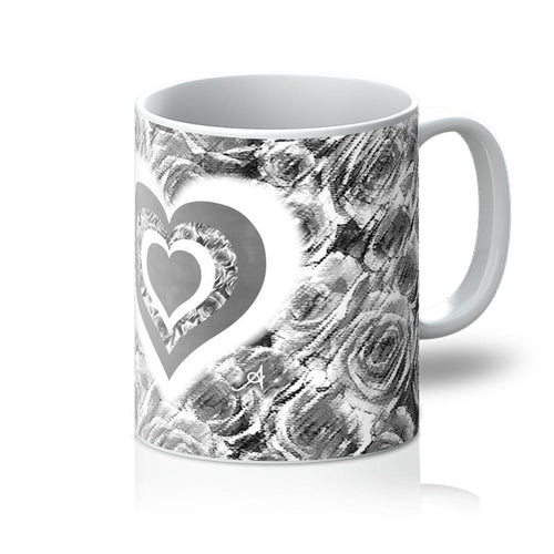 Homeware 11oz / White Textured Roses Love & Background Monochrome Amanya Design Mug Prodigi