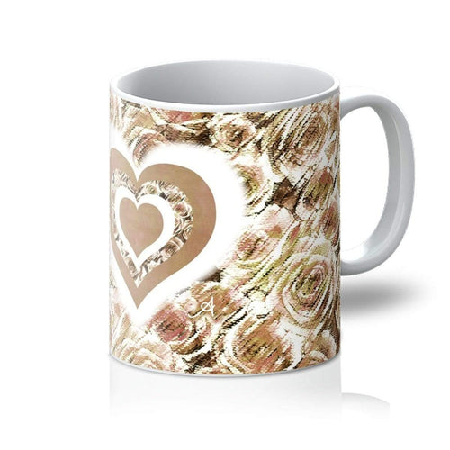 Homeware 11oz / White Textured Roses Love & Background Mushroom Amanya Design Mug Prodigi