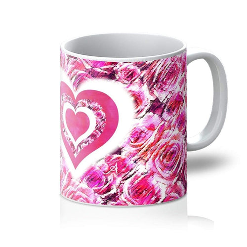 Homeware 11oz / White Textured Roses Love & Background Pink Amanya Design Mug Prodigi