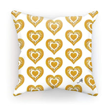 "Load image into Gallery viewer, Homeware Linen / 12""x12"" Textured Roses Love Mustard Amanya Design Cushion Prodigi"