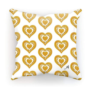 "Homeware Linen / 12""x12"" Textured Roses Love Mustard Amanya Design Cushion Prodigi"
