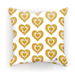 "Homeware Linen / 18""x18"" Textured Roses Love Mustard Amanya Design Cushion Prodigi"