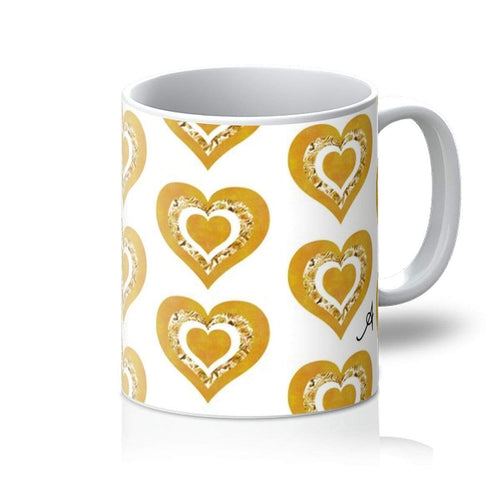 Homeware 11oz / White Textured Roses Love Mustard Amanya Design Mug Prodigi