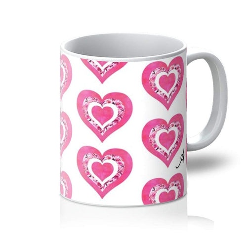 Homeware 11oz / White Textured Roses Love Pink Amanya Design Mug Prodigi