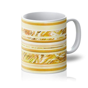 Homeware 11oz / White Textured Roses Stripe Mustard Amanya Design Mug Prodigi