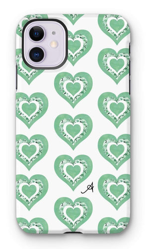 Phone & Tablet Cases iPhone 11 / Tough / Gloss Textured Roses Love Mint Amanya Design Tough Phone Case Prodigi