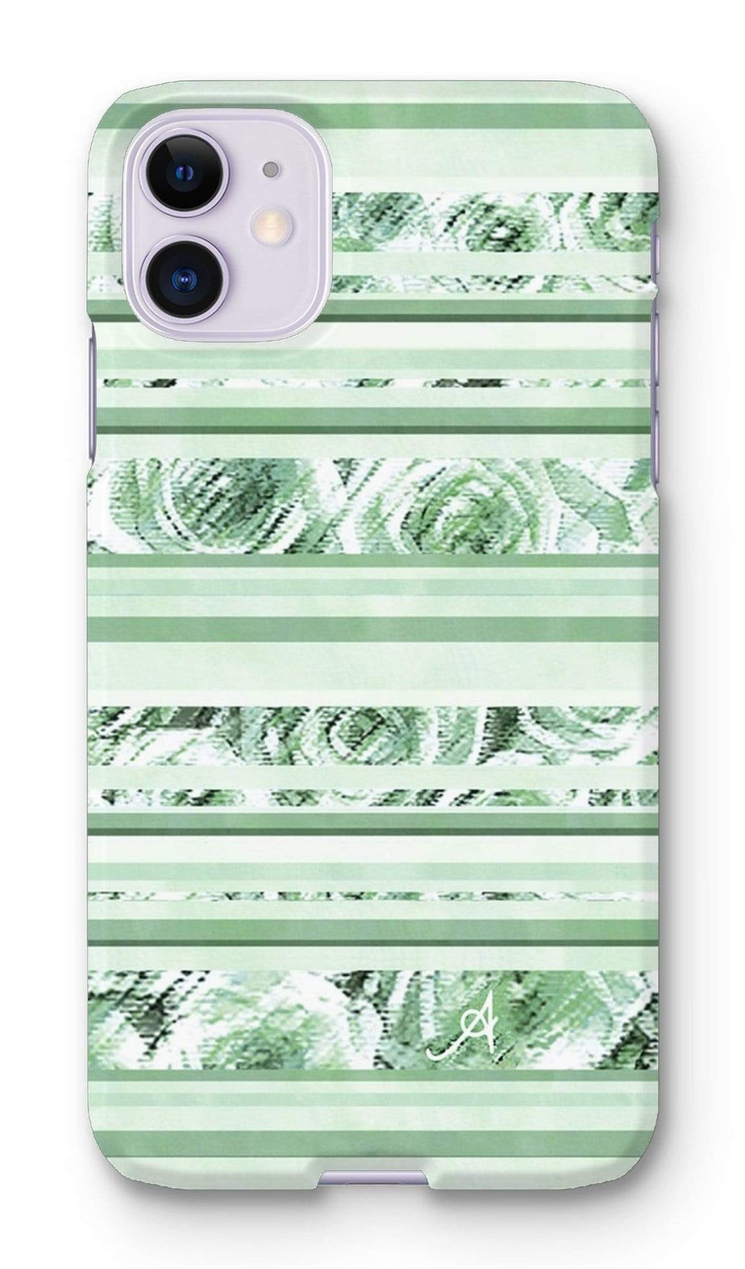 Phone & Tablet Cases iPhone 11 / Snap / Gloss Textured Roses Stripe Mint Amanya Design Phone Case Prodigi