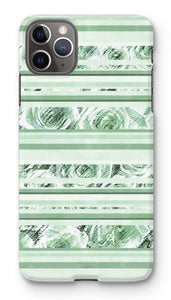 Phone & Tablet Cases iPhone 11 Pro Max / Snap / Gloss Textured Roses Stripe Mint Amanya Design Phone Case Prodigi