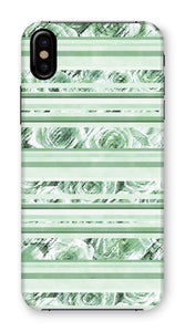 Phone & Tablet Cases iPhone XS / Snap / Gloss Textured Roses Stripe Mint Amanya Design Phone Case Prodigi