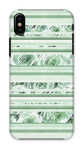 Phone & Tablet Cases iPhone X / Snap / Gloss Textured Roses Stripe Mint Amanya Design Phone Case Prodigi