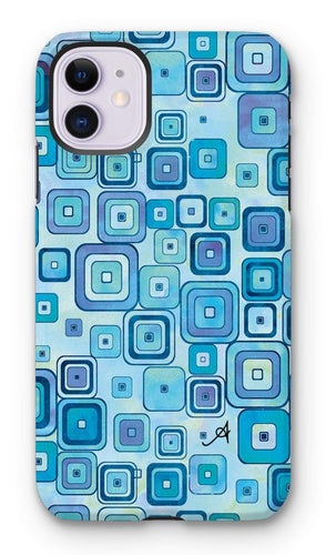 Phone & Tablet Cases iPhone 11 / Tough / Gloss Watercolour Squares Blue Amanya Design Tough Phone Case Prodigi