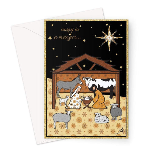 Stationery A5 / 1 Card Nativity Metallics Stable Amanya Design Greeting Card Prodigi