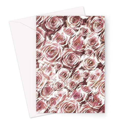 Stationery A5 / 1 Card Textured Roses Dusky Pink Amanya Design Greeting Card Prodigi