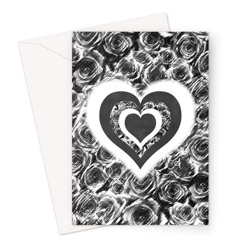 Stationery A5 / 1 Card Textured Roses Love & Background Black Amanya Design Greeting Card Prodigi