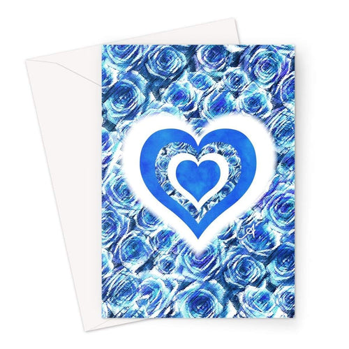 Stationery A5 / 1 Card Textured Roses Love & Background Cornflower Amanya Design Greeting Card Prodigi