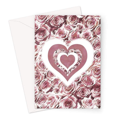 Stationery A5 / 1 Card Textured Roses Love & Background Dusky Pink Amanya Design Greeting Card Prodigi
