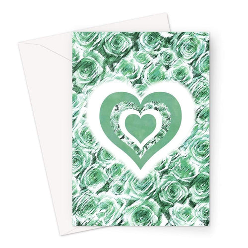 Stationery A5 / 1 Card Textured Roses Love & Background Mint Amanya Design Greeting Card Prodigi