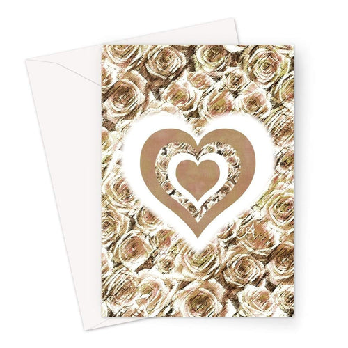 Stationery A5 / 1 Card Textured Roses Love & Background Mushroom Amanya Design Greeting Card Prodigi