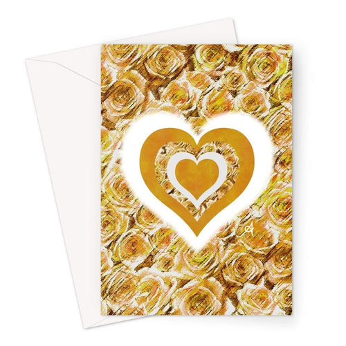 Stationery A5 / 1 Card Textured Roses Love & Background Mustard Amanya Design Greeting Card Prodigi
