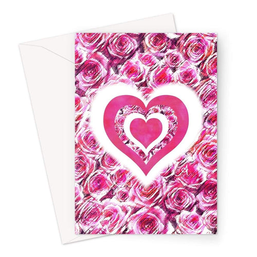 Stationery A5 / 1 Card Textured Roses Love & Background Pink Amanya Design Greeting Card Prodigi