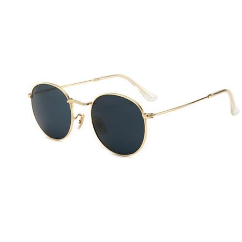 Metal frame gold rim round small size sunglasses with dark lens eshne sunglasses for small faces