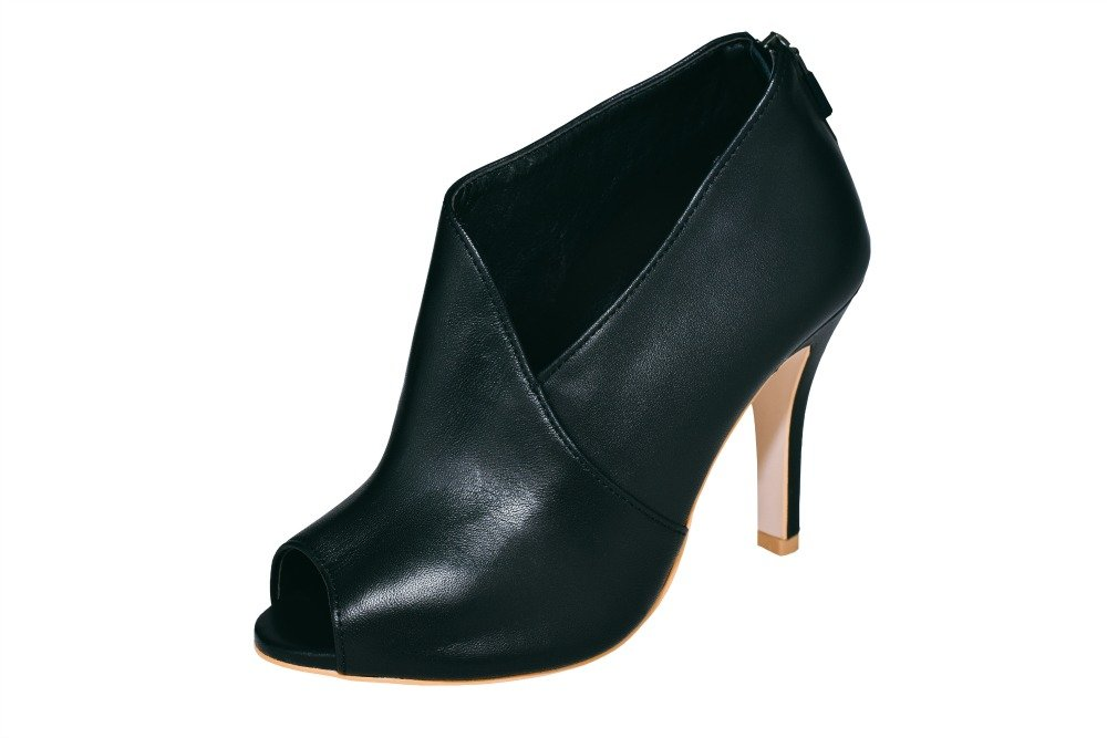 Open Toe Low Cut Black Leather Bootie with Back Zip Closure