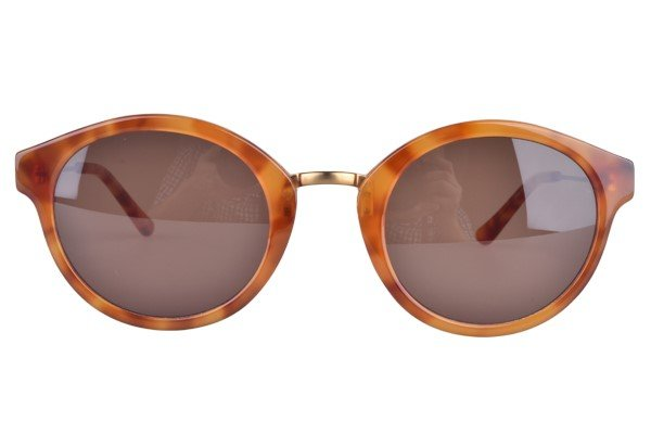 Vintage Style Round Sunglasses - Light Brown