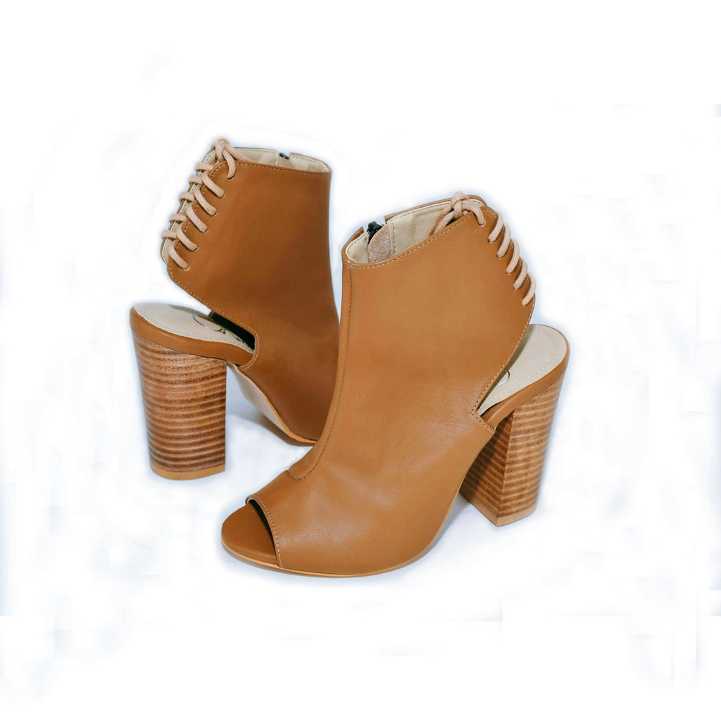 Open Toe Tan Leather Ankle Bootie with Lace Up Back