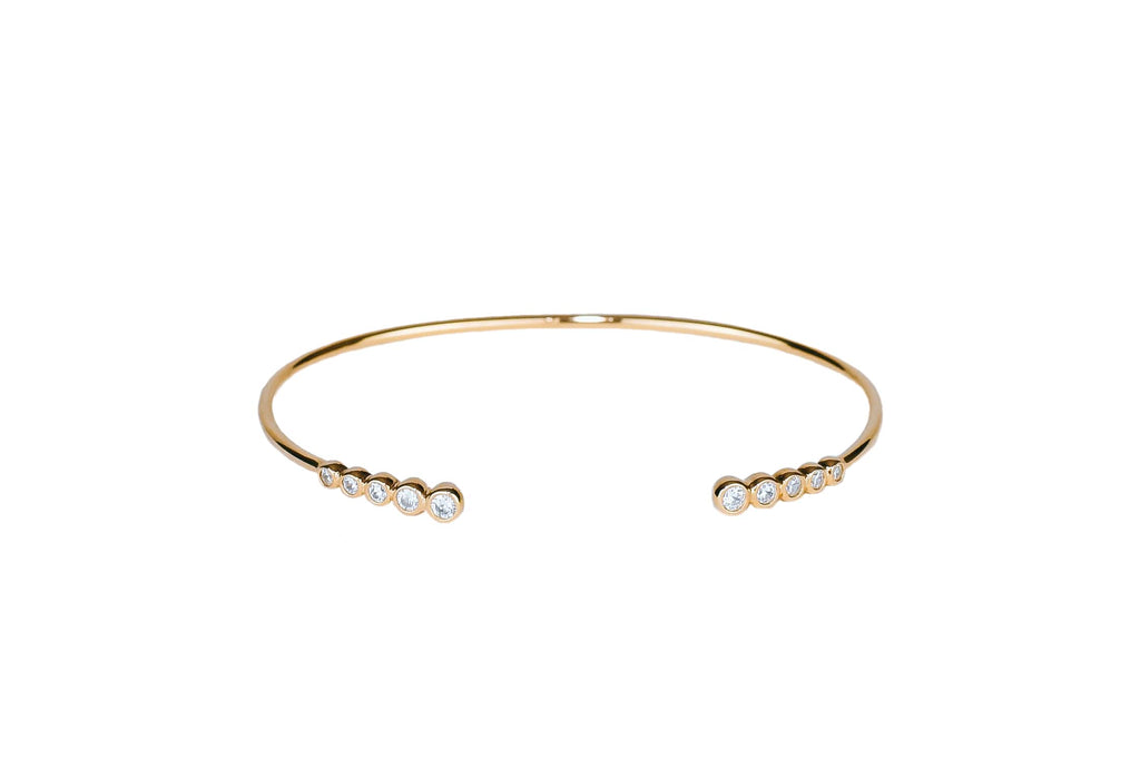 Open cuff crystal bracelet - Gold