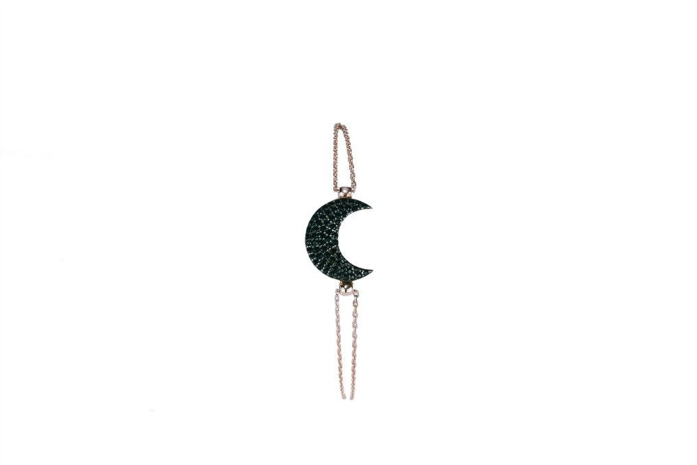 Petite Rose gold bracelet with Black Crescent Moon