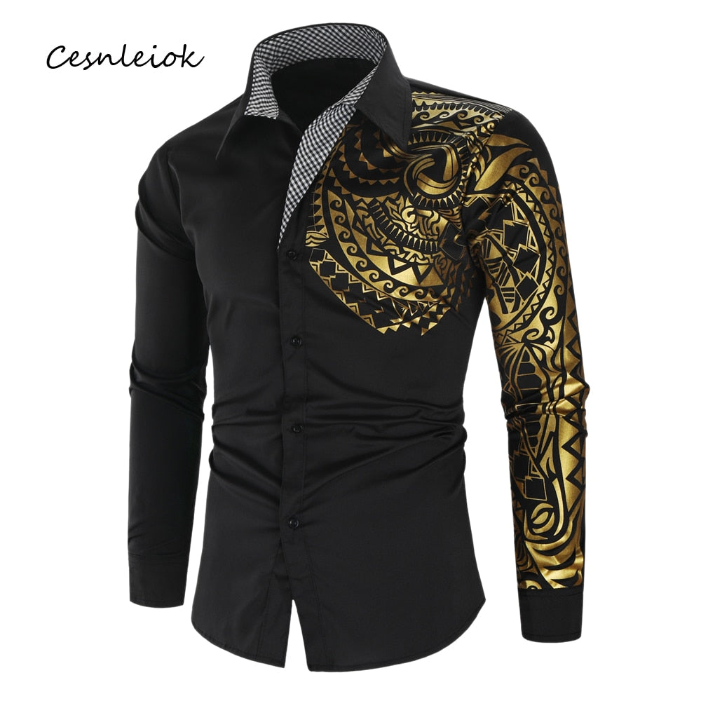 Luxury Gold Black Slim Fit Long Sleeve Men
