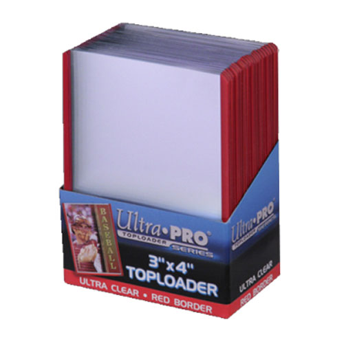 Top Loader Ultra Pro Regular 35pt 3 x 4 Red Border 25 Pack