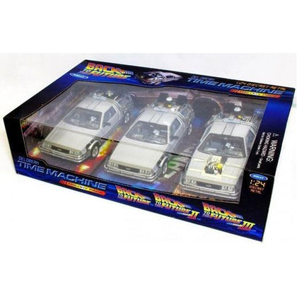 Back To The Future Delorean 1:24 Scale Triple Pack Diecast Vehicles