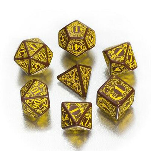 Yellow and Brown Steampunk 7 Die Set