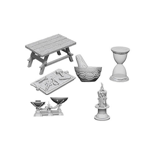 Wizkids Deep Cuts Unpainted Miniatures Workbench and Tools