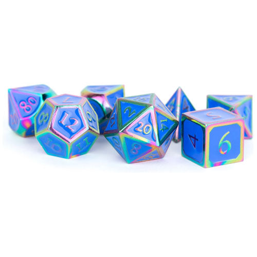 MDG Metal Polyhedral Dice Set Rainbow/Blue Enamel