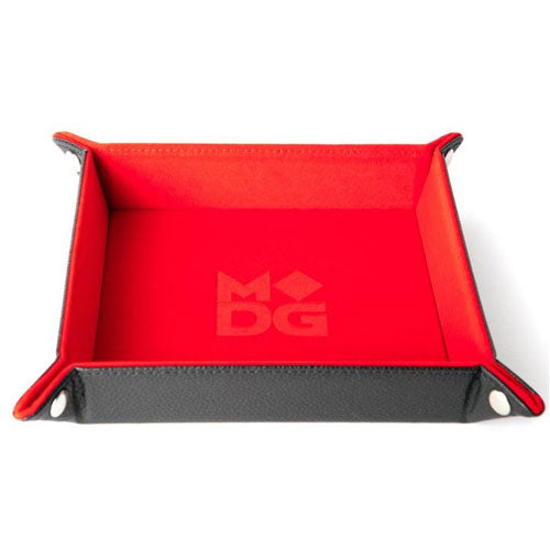 MDG Folding Dice Tray with Leather Backing Red Velvet