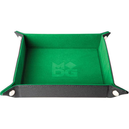 MDG Folding Dice Tray with Leather Backing Green Velvet