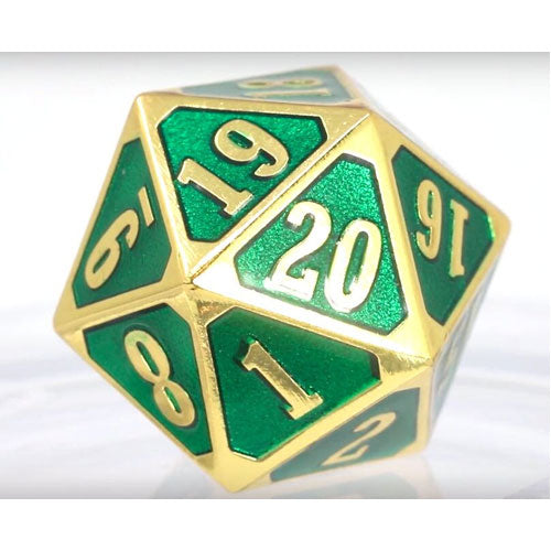 Die Hard Dice Metal MTG Roll Down Counter Shiny Gold Emerald