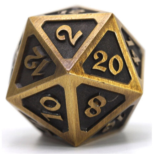 D20 Die Hard Dice Metal Mythica Battleworn Gold