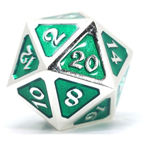 D20 Die Hard Dice Metal Mythica Platinum Emerald