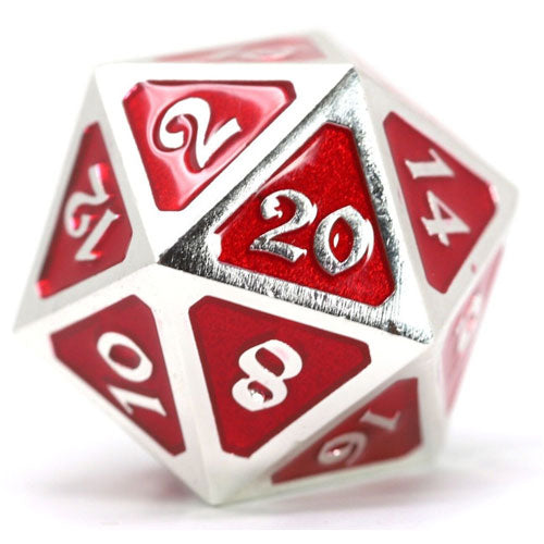 D20 Die Hard Dice Metal Mythica Platinum Ruby