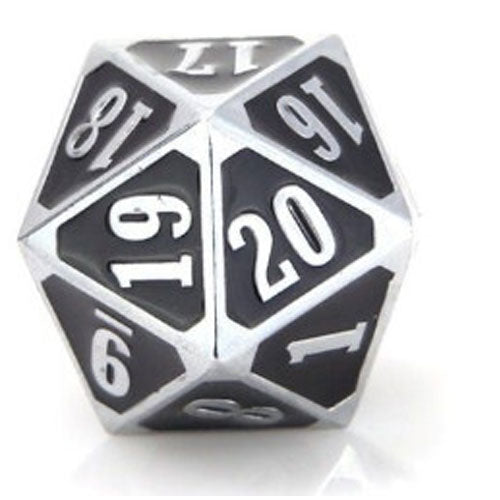 Die Hard Dice Metal MTG Roll Down Counter Shiny Silver/Black