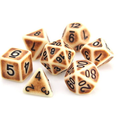 Die Hard Dice Polymer RPG Polyhedral Set Bone Golem