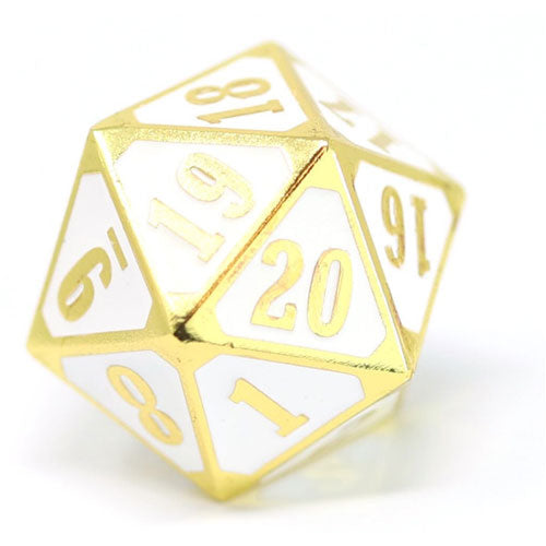 Die Hard Dice Metal MTG Roll Down Counter Shiny Gold/White