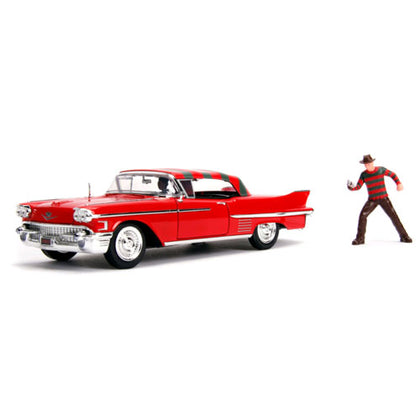 A Nightmare on Elm St 1958 Cadillac Series 62 1:24 Scale with Figure Hollywood Rides Diecast Vehicle