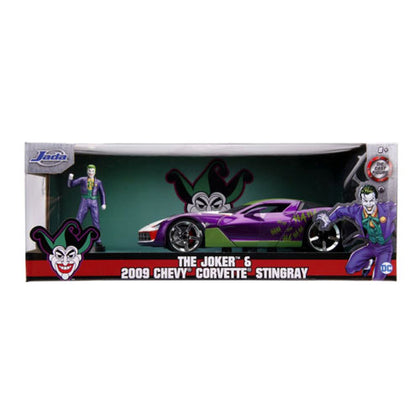 Batman Joker 2009 Corvette 1:24 Scale with Figure Hollywood Rides Diecast Vehicle
