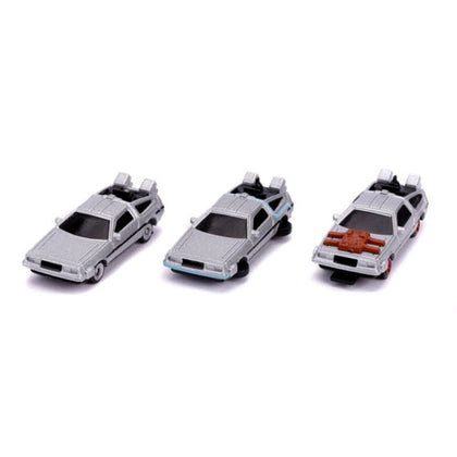 Back To The Future Delorean 3 Pack Nano Hollywood Rides Diecast Vehicles