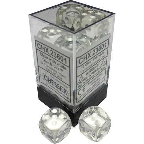 Chessex Translucent Clear/White Dice Block